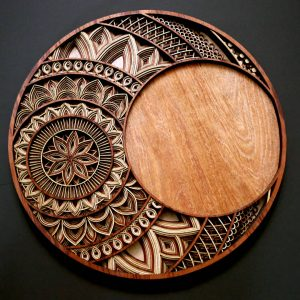 Laser Cut Circle Mandala Clock Artworks front view