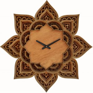 Wooden Laser Cut Mandala Clock Artworks (1)