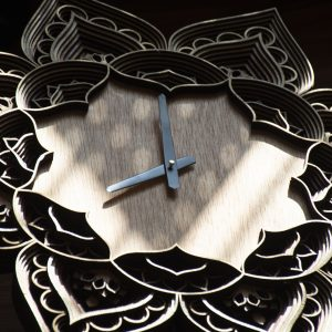 Laser Cut Mandala Clock Artworks Side view